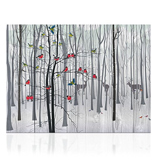 Christmas Tree in a Snowy Winter Forest Canvas Prints Deer and Cardinal Wall Art Birds Animal Poster Giclee Artwork Gallery Wrapped Ready to Hang for Bedroom Walls Gift Idea 24inch x 32inch (Winter Animal Art)