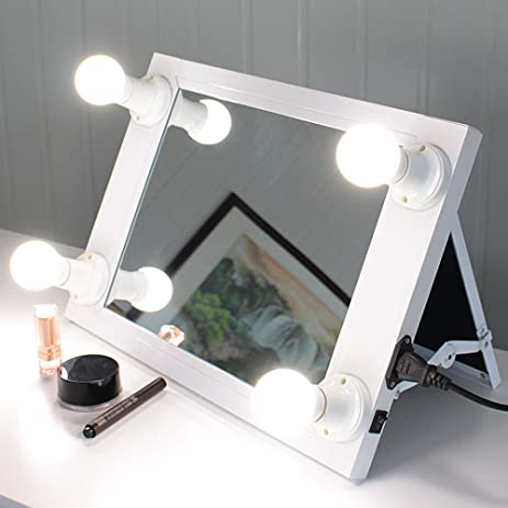 Chende Portable Hollywood Style Lighted Vanity Mirror, Folded Makeup Mirror  With Lights, Professional Tabletop