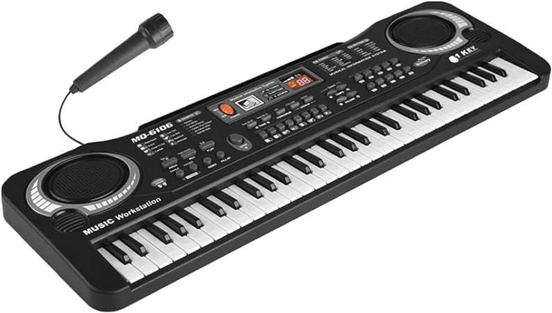 Multi-función 61 teclas niños teclado electrónico órgano piano enseñanza musical juguete con micrófono y cable de alimentación de la UE
