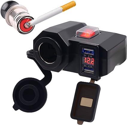 voltmetro con interruttore on//off camion Presa accendisigari per moto morsetto per manubrio Muzi barca scooter camper moto per moto auto doppia USB ATV 4,2 A