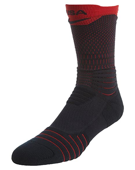 01ccecb94d0d Amazon.com   Nike Elite Versatility USA Basketball Crew Socks (475 Dark  Obsidian University Red