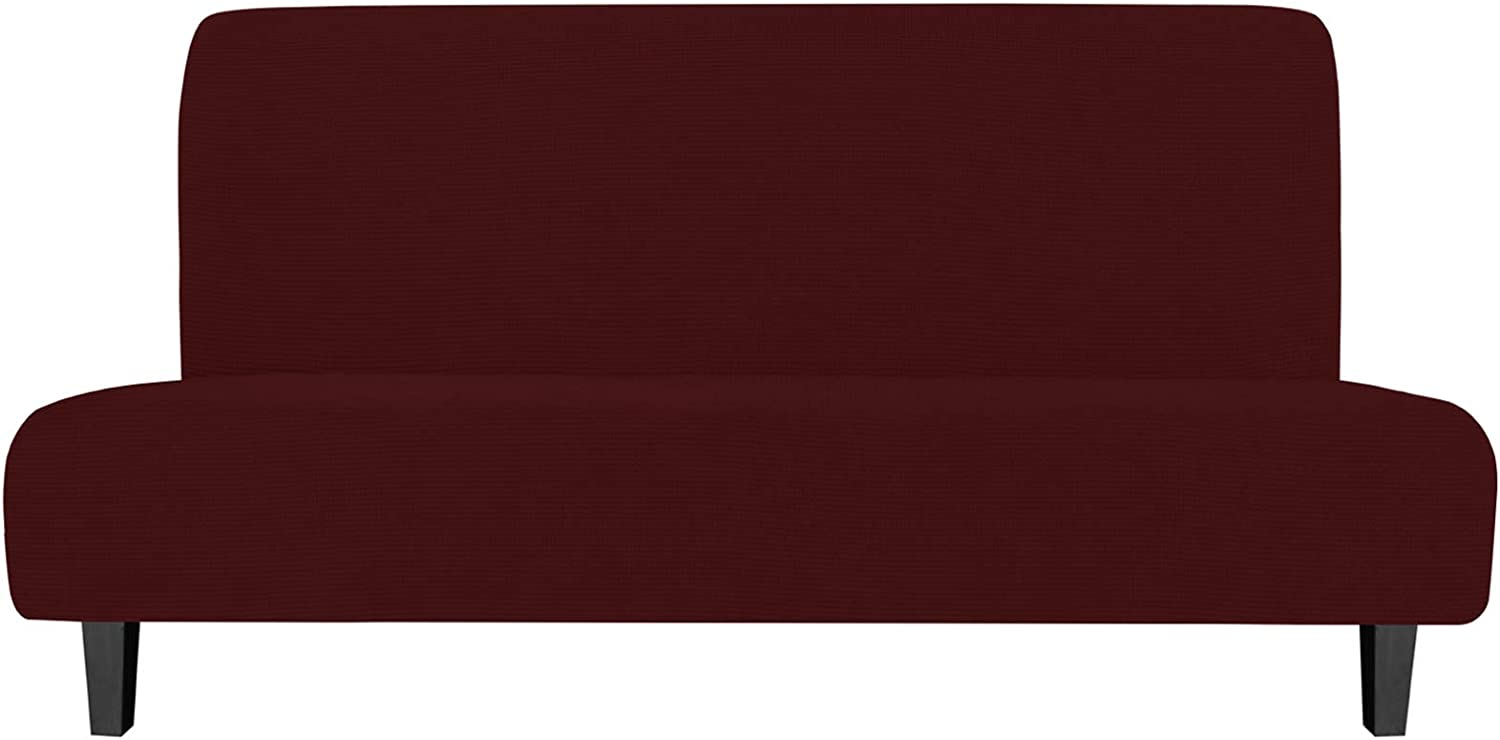 Easy-Going Stretch Sofa Slipcover Armless Sofa Cover Furniture Protector Without Armrests Slipcover Soft with Elastic Bottom for Kids, Spandex Jacquard Fabric Small Checks(futon,Wine)