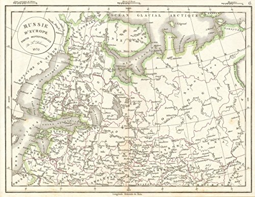 Historic Map | Delamarche Map of European Russia, 1827 | Historical Antique Vintage Decor Poster Wall Art | 16in x 20in