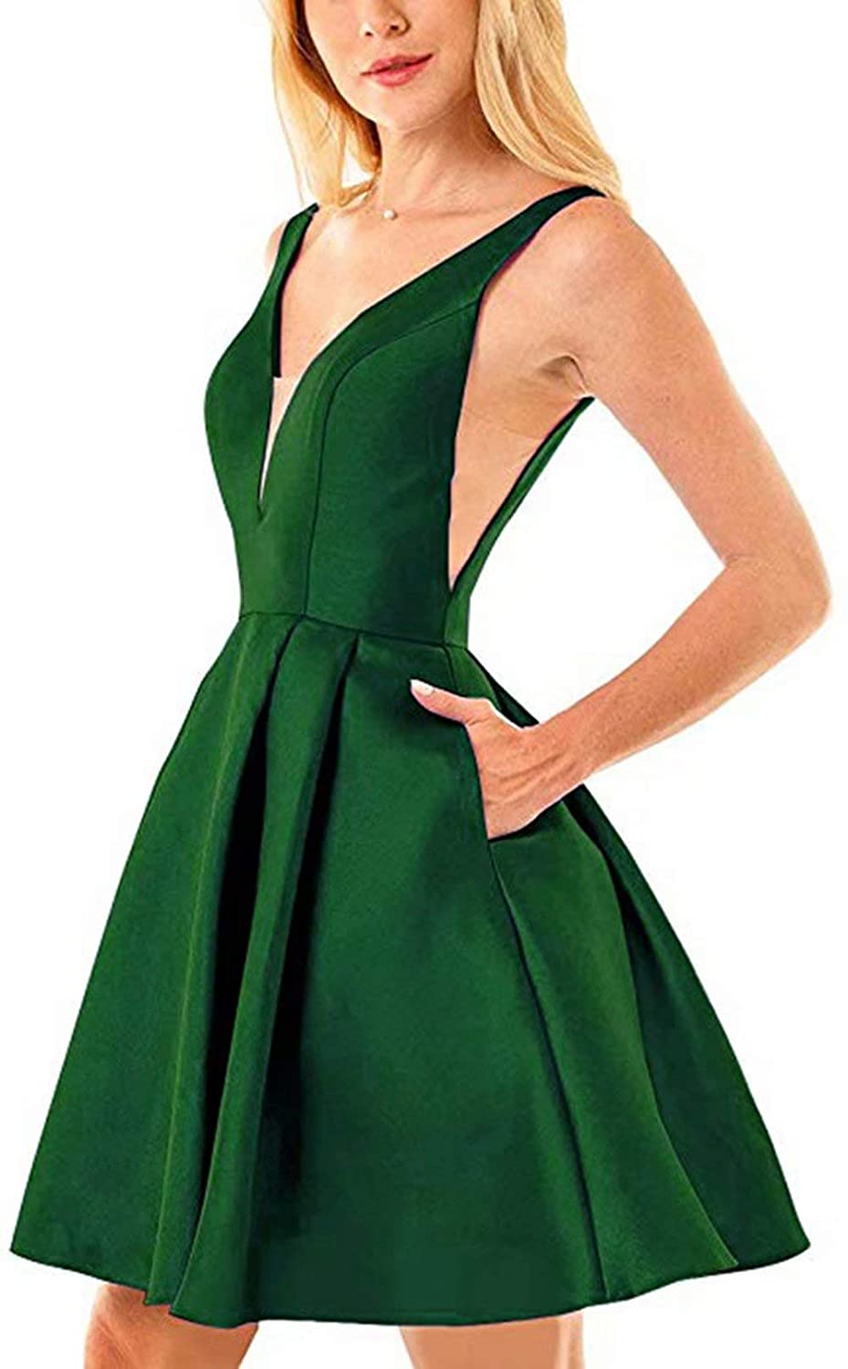 Emerald Green Rmaytiked Womens V Neck Prom Dresses Short 2019 Satin A Line Homecoming Dresses with Pockets