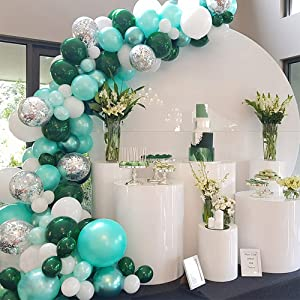 GIHOO 100pcs Balloon Garland Kit Green Metallic Chrome Balloon, Silver Confetti Balloon, White Balloon, Dark Green Balloon, 16Ft Arch Strip for Baby Shower Wedding Birthday Party Decoration (Green)