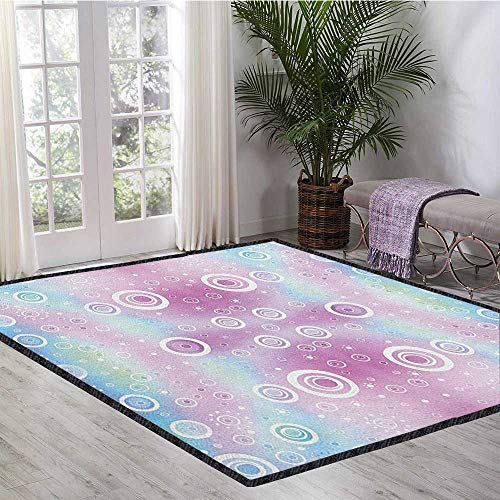 Pastel Large Rug Mat,Whimsical Fantasy Pattern with Ring Shapes Dots Random Circles Dreamlike for Hard Floors Pale Pink Aqua White 47