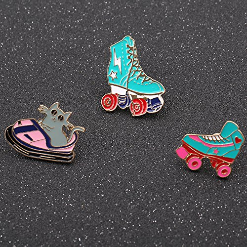 Chong Golden Delicious new creative design drop enamel playground personality wild roller skates collar pin brooch brooch badge female (Skate Pin)