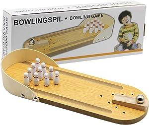 MorTime Mini Bowling Game, Mini Wooden Desktop Bowling Game Mini Tabletop Bowling Toy Classic Desk Ball for Kids