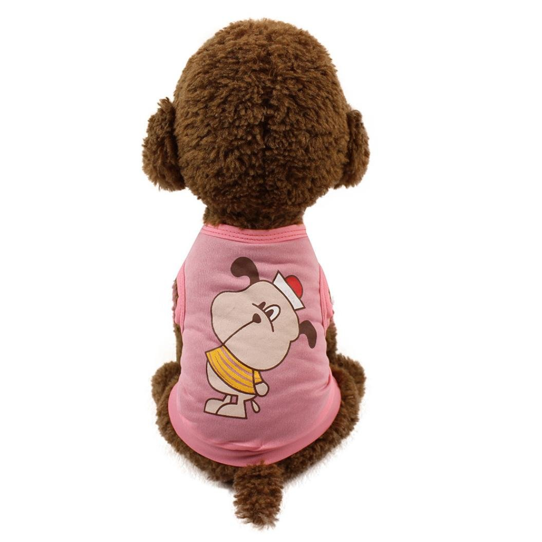 648fa5f6d70a Amazon.com : Hot Sale! Pet Dog Clothes Cute Cat T-shirt Clothing Small Puppy  Costume Vest Sleeveless Tee Shirt Striped Summer Apparel (L, ...
