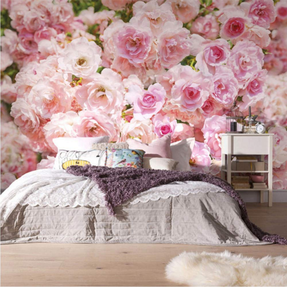 Amazon Com Xbwy Romantic Pink Rose Flower Background Wall Murals