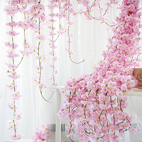 StarLifey Artificial Cherry Blossom Garland Hanging Vine 6.5 Ft Silk Garland Artificial Flower Wedding Party Decor,Pack of 2 -