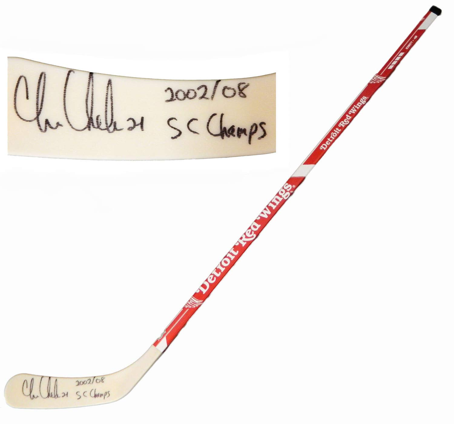Chris Chelios Autographed Signed Detroit Red Wings Logo 48 Inch Full Size Hockey Stick 2002 08 Sc Champs Certified Authentic