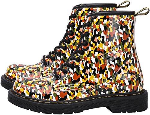 Damen Mädchen Stiefel Schnürstiefel Winterstiefel gefüttert Stiefeletten Wasserdicht PU Leder Boots Schuhe Muster Print Gelb(Yellow)-Ungefüttert