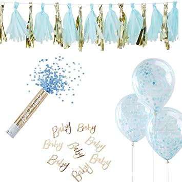 8 Teile Deko-Set Baby-Party Boy - Junge in gold & blau - 8 Teile ...