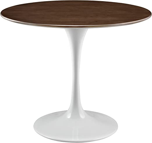 Amazon Com Modway Lippa 36 Mid Century Modern Dining Table With Round Top In Walnut Tables