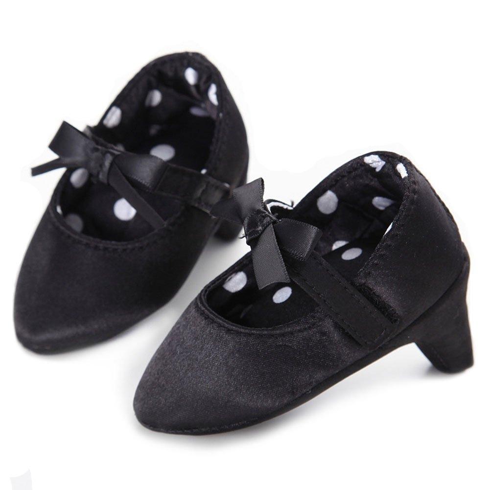 Newborn Baby Girls Shoes Bowknot Soft Sole Crib Shoes (0-6 M, Black)