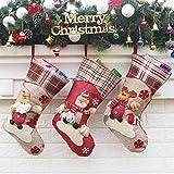 AnciTac Christmas Stockings Hanging Set 17'' Large Holiday Gift Bags, Bulk Stocking Kit for Xmas Tree or Fireplace Decoration(Type B)