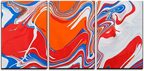 Wall26 3 Piece Canvas Wall Art Liquid Marbling Paint Background Fluid Painting Abstract Texture Blue And Red Modern Home Art Stretched And Framed Ready To Hang 16 X24 X3