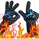 NEWBEA BBQ Grill Gloves,932°F Heat Resistant Extreme Grilling Kitchen Gloves for Men,Women Fireplace Accessories,Kitchen Oven Mitts Gloves, Barbecue Accessories,Silicone Lined Insulated Oven Mitts