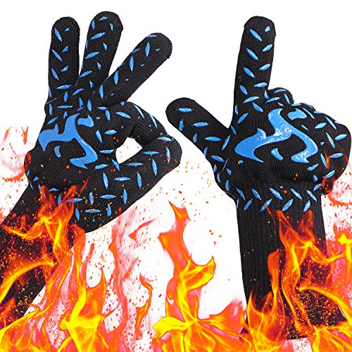 NEWBEA BBQ Grill Gloves,932°F Heat Resistant Extreme Grilling Kitchen Gloves for Men,Women Fireplace Accessories,Kitchen Oven Mitts Gloves, Barbecue Accessories,Silicone Lined Insulated Oven Mitts by NEWBEA