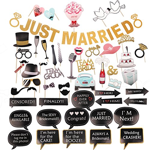 JUNIQUTE Wedding Party Decoration and Supplies- Photo Booth Props Kit, Just Married Banner Gold Glitter Foam Letter Dress Up Accessories for Bridal Shower, Bachelorette Party Favor