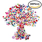 #6: Senkary 600 Pieces Craft Buttons Decorative Sewing Buttons Assorted Buttons Resin Round Buttons Bulk 4 Holes and 2 Holes, Assorted Colors and Sizes (Multicolored)
