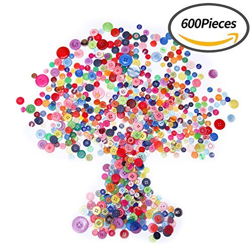Senkary 600 Pieces Craft Buttons Decorative Sewing Buttons Assorted Buttons Resin Round Buttons Bulk 4 Holes And 2 Holes  Assorted Colors And Sizes  Multicolored