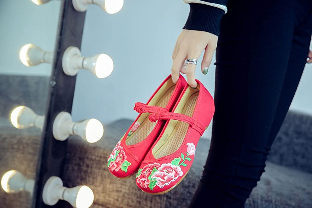 Tianrui Crown Women and Ladies The Lotus Embroidered Sandals Cheongsam Flat Shoes
