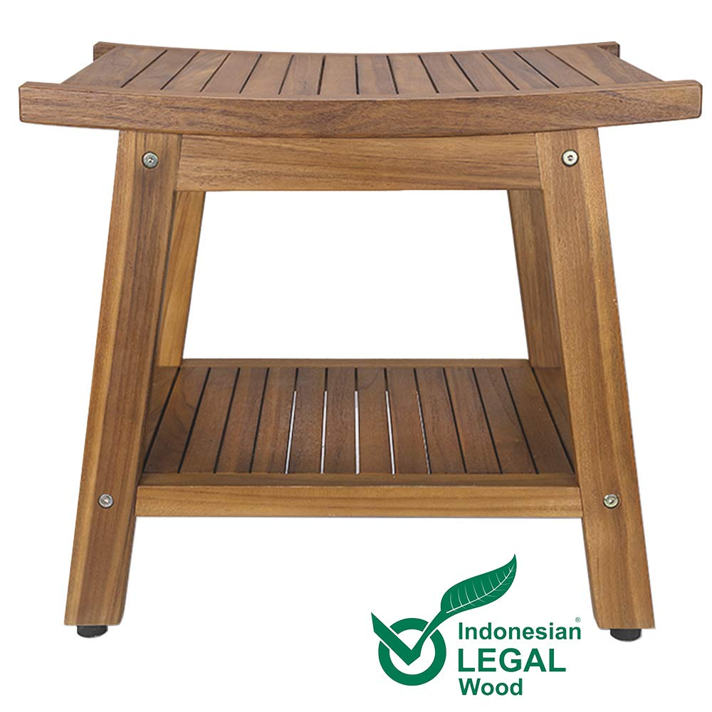 Teak Shower Bench, Teak Shower Stool, 20'' Sturdy Waterproof Stool with Shelf Foot Stool & Shower Shelf for Your Bathroom. Suitable for Both Indoor and Outdoor, Nander Stool, Assembly Required