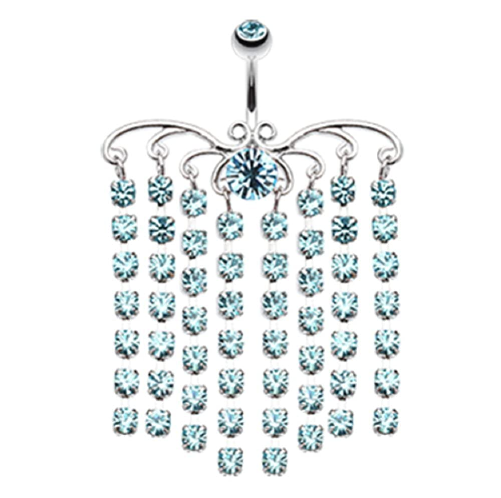 Sold Individually Freedom Fashion Sparkling Curtain Chandelier 316L Surgical Steel Belly Button Ring