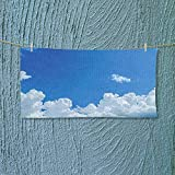 Nalahome Quick Dry Towel Large Collection Cloud Frame Skylight to Clear Sky Sunny Day Decorative Nature Picture Scene Fluffy, and Absorbent, Premium Quality L27.5 x W13.8 inch