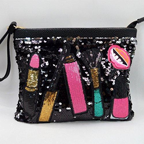 Bag Evening Black Handbag Body Zipper Mily Sparkle Clutch Shoulder Cross Sequins An6za
