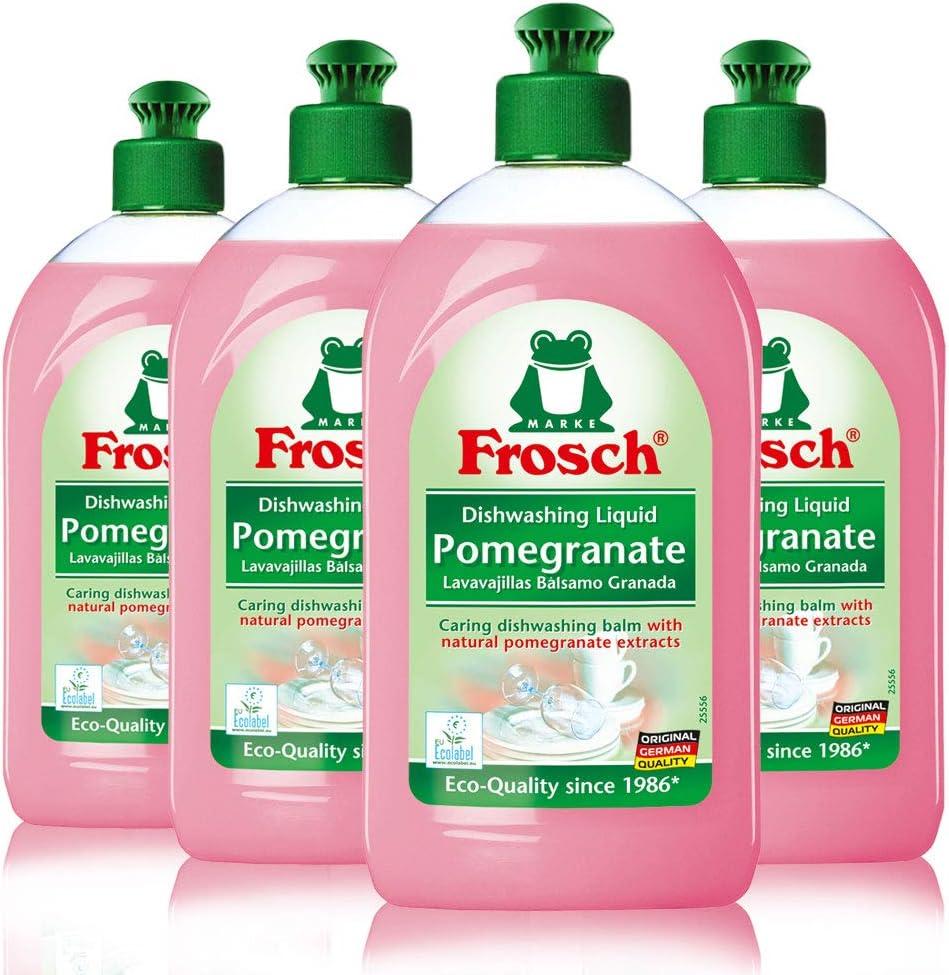 Frosch Natural Liquid Dish Soap, Vegan Hand Dishwashing Detergent, Pomegranate, 500 ml, Pack of 4
