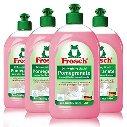 Frosch Natural Liquid Dish Soap, Vegan Hand Dishwashing Detergent, Pomegranate, 500 ml, Pack of 4