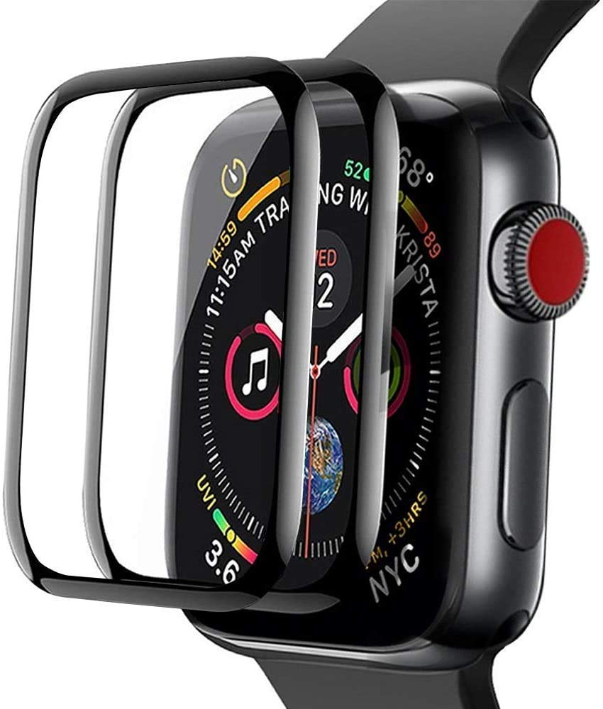 [2 Pack] For Apple Watch Screen Protector 42mm, Aottom 3D Curved Edges Full Coverage Apple Watch Series 3/2/1 Screen Protector Carbon Fiber Frame Tempered Glass Film for iWatch Series 3/2/1, Black
