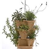 Mini-Garden Stacker- Stackable/Hangable All Season Self-Watering Planter- Indoor/Outdoor Stacking Flower Pot- Great Gardening Gift Idea - Color: Tuscany