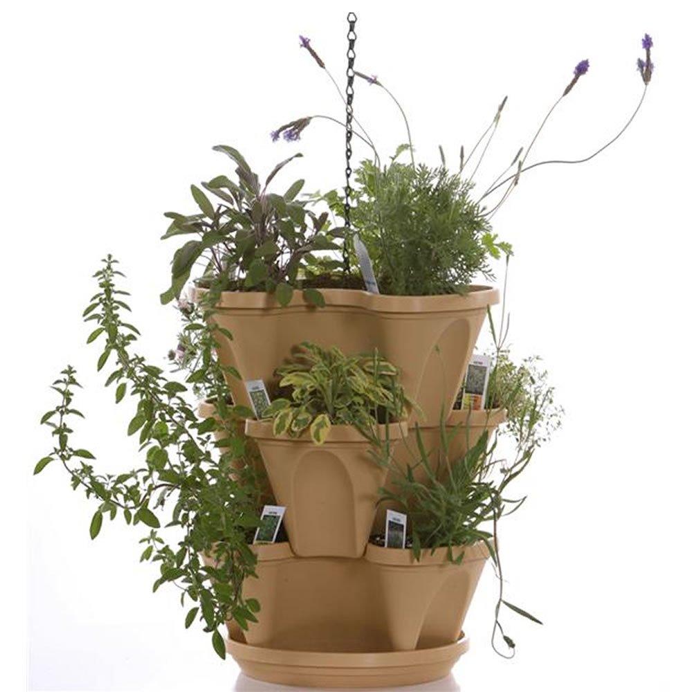 amazon com self watering stackable planters 3 tier set