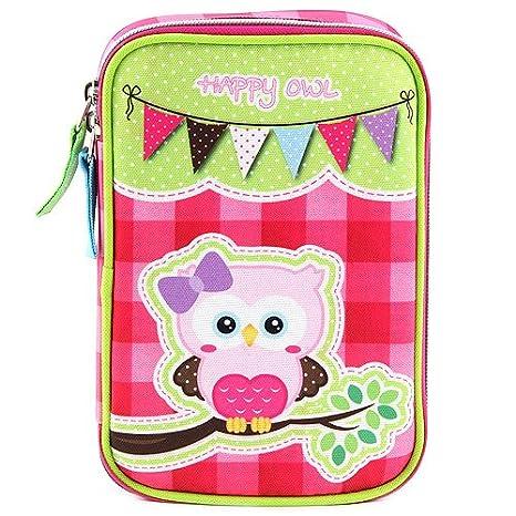 Target Target Happy Owl Mädchen Schüleretui Set de útiles escolares, 22 cm, Rosa (