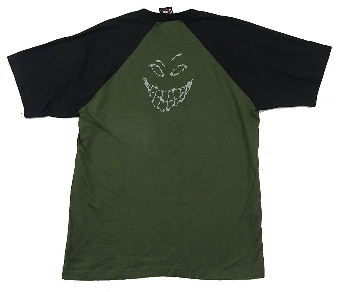 Amazon com disturbed scary guy face green jersey t shirt l clothing