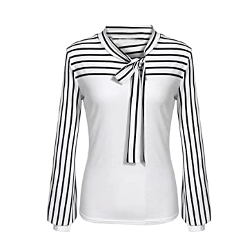 c1732ca6d52ad9 Women Blouse Daoroka Ladies Striped Bow Tie Long Sleeve Splicing Casual  Loose Spring Summer Autumn Pullover
