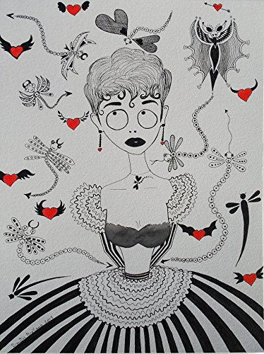 """DRAGONFLY GIRL - ORIGINAL DRAWING - Black Waterproof Ink FANTASY DRAWING on Heavy STRATHMORE White Paper - SIZE:12"""" x 9"""" - Signed by the Artist - from Santos Arellano - Art & Crafts"""