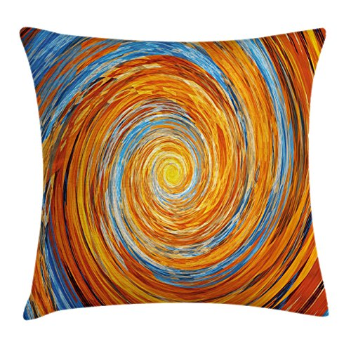 Ambesonne Fractal Throw Pillow Cushion Cover, Hippie Style Vortex Spiral Rotary Colorful Chaotic Unusual Turning Contrast Design, Decorative Square Accent Pillow Case, 16 X 16 Inches, Orange Blue