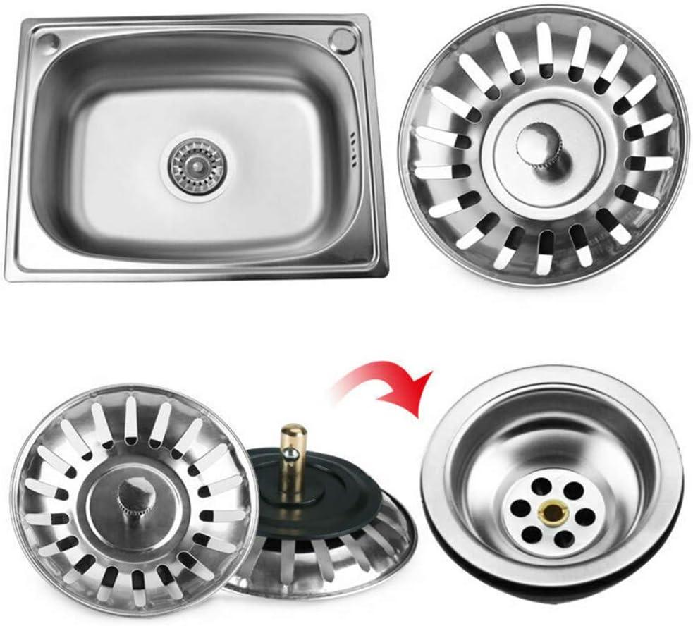 BITUBITU Stainless Steel Kitchen Sink Strainer Plug Dual Function Basket Strainer Sink Filter Bathroom Hair Catcher