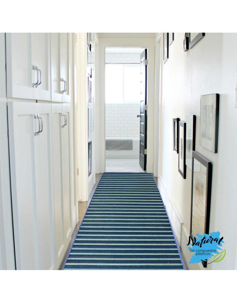 Ideal para Pasillo//Entrada con Base Antideslizante Alfombra de Bamb/ú Natural Hogar y M/ás de 175cm X 75cm de Rayas Azules