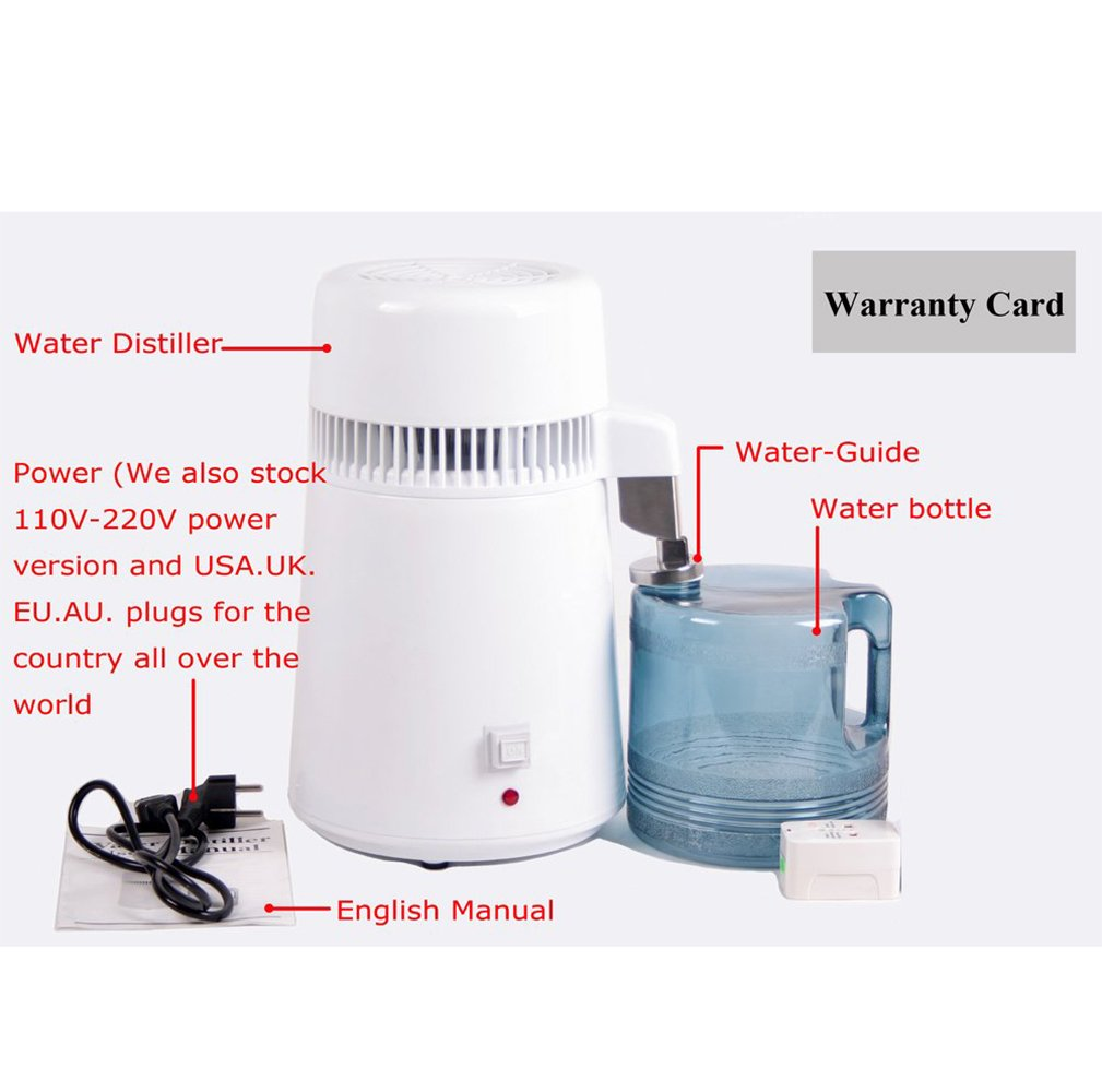Denshine Water Purifier, Countertop Water Distiller 1Gal Pure Water Distiller Distilled Water Machine Pure Water Maker Stainless Steel Internal Pure Water Distiller Water Filter