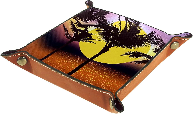 Bandeja de cuero para guardar joyas, bandeja de dados, bandeja de noche, para cambio de moneda, teléfono y soporte para caramelos, bandeja de entrada, palma puesta del sol