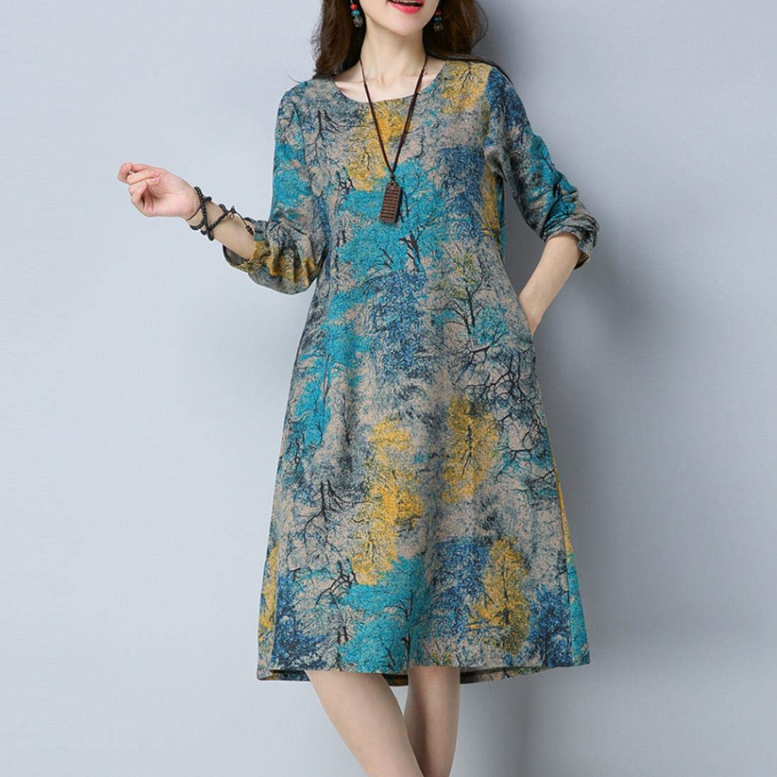 OWMEOT Women's V Neck Summer Print A-line Casual Swing Midi Skater Evening Party Long Dress Sundress Plus Size (Blue, 4XL) by OWMEOT (Image #3)