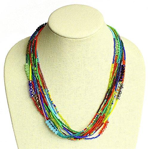 Sparkling Alluring 12 Strand Color Block Necklace Czech Crystals Glass Beads Fair Trade Artisan NE256-101
