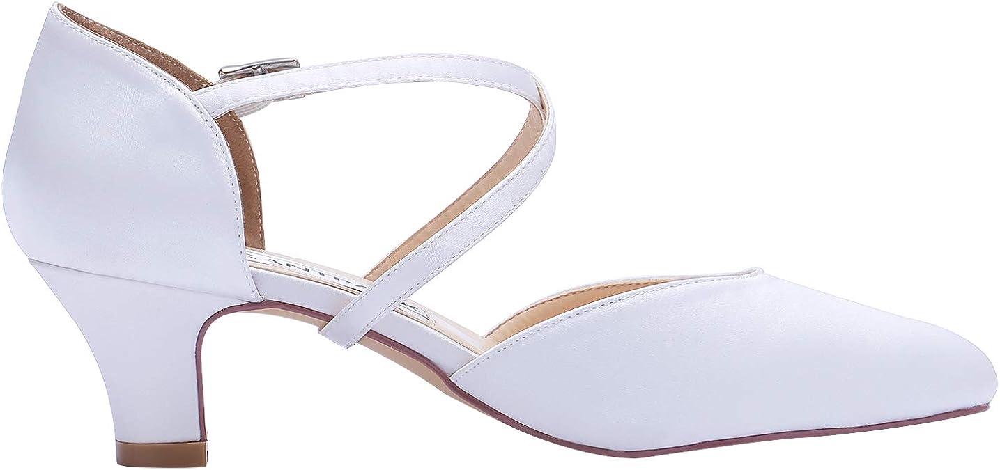 Elegantpark HC1921 Femme Sangle crois/ée Bloquer Les Talons Bas Escarpins Satin Bout ferm/é Chaussures de mari/ée de Mariage