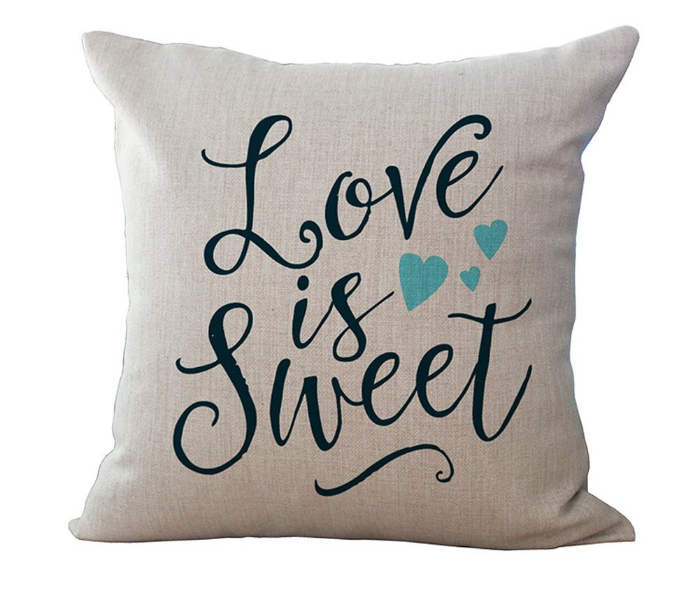 """Throw Pillow Covers Decorative Pillow Cases 18 x 18"""" for Couch Cushion Pillows, Romantic Love is Sweet Home Decor Valentine's Day Gift"""